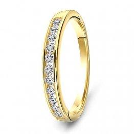 Miore Ring Damen 0.33 Ct Diamant Ewigkeitsring aus Gelbgold 14 Karat / 585 Gold, Schmuck mit Diamanten Brillanten - 1