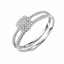 Miore Ring Damen Diamant Pavé Verlobungsring doppelreihig Weißgold 9 Karat / 375 Gold Diamanten Brillanten 0.24 Ct, Schmuck - 1