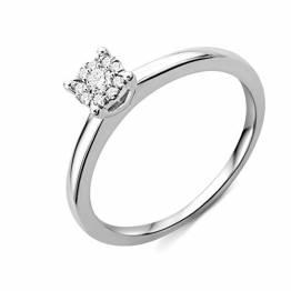 Miore Ring Damen Diamant Verlobungsring Weißgold 9 Karat / 375 Gold Diamanten Brillanten 0.10 Ct, Schmuck - 1