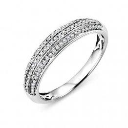 Miore Ring Damen mehrreihiger Diamant Pavé Ehering Weißgold 9 Karat / 375 Gold Diamanten Brillanten 0.23 Ct, Schmuck - 1