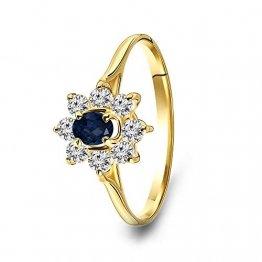 Miore Ring Damen Verlobungsring Gelbgold 14 Karat / 585 Gold mit Edelstein blauer Saphir und rundschliff Zirkonia Steinchen, Schmuck - 1
