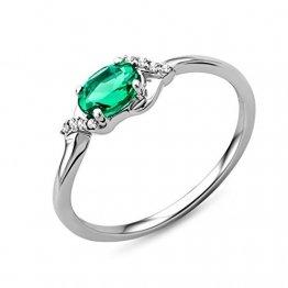 Miore Ring Damen Weißgold 9 Karat / 375 Gold Solitär Smaragd Diamant Brillianten 0.03 ct - 1