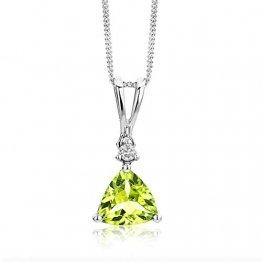 Miore Schmuck Damen 0.02 Ct Diamant Halskette mit Anhänger Edelstein Peridot und Solitär Brillant elegante Kette aus Weißgold 9 Karat / 375 Gold - 1