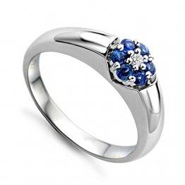 Miore Schmuck Damen 0.03 Ct Diamant Verlobugnsring mit Edelstein/Geburtsstein blauer Saphir und Diamant Brillant Ring aus Weißgold 18 Karat / 750 Gold - 1