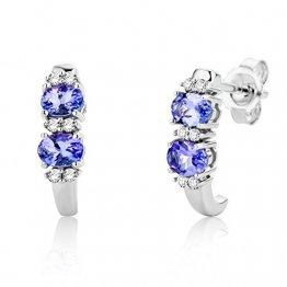 Miore Schmuck Damen 0.08 Ct Diamant Ohrstecker mit Edelstein Geburtssein Tansanit in blau Ohrringe aus Weißgold 9 Karat / 375 Gold - 1