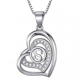 Morella® Damen Halskette Herz Buchstabe S 925 Silber rhodiniert mit Zirkoniasteinen weiß 46 cm - 1
