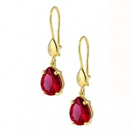 Ohrringe Gold 750 Gelbgold 18K Synt. Rubin Rot Damen Ohrschmuck Zirkonia Ohrhänger - 1