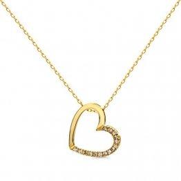 Orovi Damen Halskette mit Diamant herzkette GelbGold Kette 9 Karat (375) Brillanten 0.10crt, Goldkette mit 15 Diamanten - 1