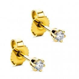 Orovi Damen Ohrringe mit Diamanten Gelbgold Solitär Ohrstecker 14 Karat (585) Gold und Diamant Brillanten 0.12 Ct Ohrring Handgemacht in Italien - 1