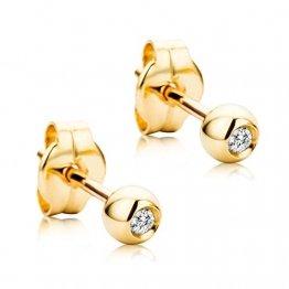 Orovi Damen Ohrringe mit Diamanten Gelbgold Solitär Ohrstecker 18 Karat (750) Gold und Diamant Brillanten 0.04 Ct - 1