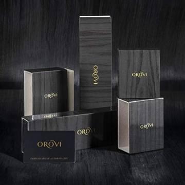Orovi Damen Ohrringe mit Diamanten Weißgold Solitär Ohrstecker 14 Karat (585) Gold und Diamant Brillanten 0.08 Ct Ohrring Handgemacht in Italien - 2