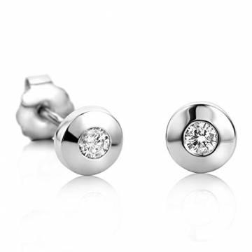 Orovi Damen Ohrringe mit Diamanten Weißgold Solitär Ohrstecker 14 Karat (585) Gold und Diamant Brillanten 0.08 Ct Ohrring Handgemacht in Italien - 3