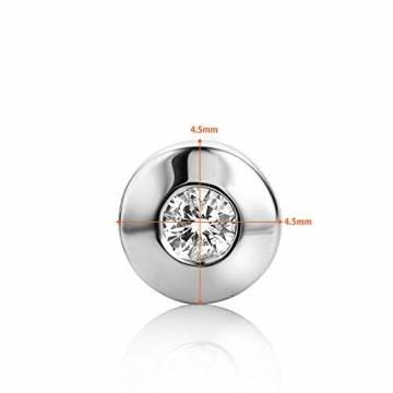 Orovi Damen Ohrringe mit Diamanten Weißgold Solitär Ohrstecker 14 Karat (585) Gold und Diamant Brillanten 0.08 Ct Ohrring Handgemacht in Italien - 4