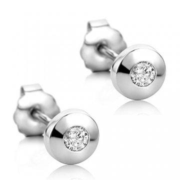 Orovi Damen Ohrringe mit Diamanten Weißgold Solitär Ohrstecker 14 Karat (585) Gold und Diamant Brillanten 0.08 Ct Ohrring Handgemacht in Italien - 1