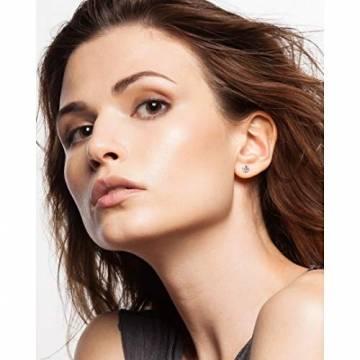 Orovi Damen Ohrringe mit Diamanten Weißgold Solitär Ohrstecker 14 Karat (585) Gold und Diamant Brillanten 0.08 Ct Ohrring Handgemacht in Italien - 5