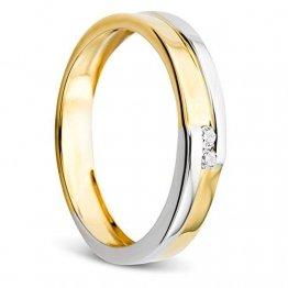 Orovi Damen Ring Bicolor Gelbgold und Weißgold 0.03 Ct Diamant Verlobunsring Ehering Trauring 14 Karat (585) Gold und Diamanten Brillanten - 1