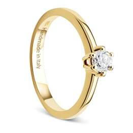 Orovi Damen Ring Gelbgold 0.25 Ct Solitär Diamant Verlobungsring 14 Karat (585) Gold und Diamant Brillanten Ring Handgemacht in Italien - 1