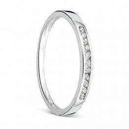 Orovi Damen-Ring Memoire HochzeitsringWeißgold 9 Karat (375) Brillianten 0.10 carat Verlobungsring Diamantring - 1