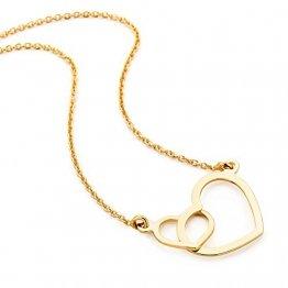 Orovi Kette - Halskette Damen Gelbgold 9 Karat / 375 Gold Kette mit Herz 45 cm Halskette in Italien hergestellt - 1