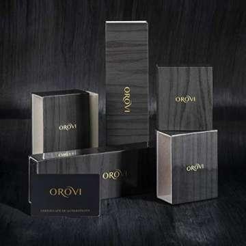 Orovi Ohrringe Damen Weißgold 9 Karat / 375 Gold Ohrstecker Ruby mit Rundschliff Diamant - 2