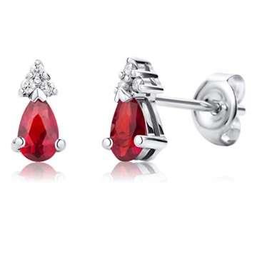 Orovi Ohrringe Damen Weißgold 9 Karat / 375 Gold Ohrstecker Ruby mit Rundschliff Diamant - 4