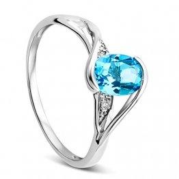 Orovi Schmuck Damen 0.01 Ct Diamant Ring mit blauem Topas und Diamanten Brillanten Verlobungsring aus Weißgold 9 Karat (375) Gold - 1