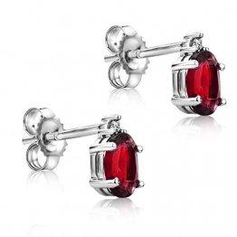Orovi Schmuck Damen 0.02 Ct Diamant Ohrringe mit ovalschliff Edelstein/Geburtsstein Rubin in rot Ohrhänger aus Weißgold 9 Karat / 375 Gold - 1