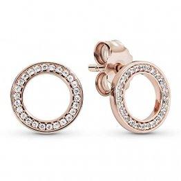 Pandora Damen Rose Funkelnder Kreis Ohrstecker 14 Karat rosévergoldete Metalllegierung, Cubic Zirkonia 280585CZ - 1