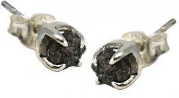 Rohdiamant Ohrstecker mit schwarzem Roh Diamant, 4 mm - 1