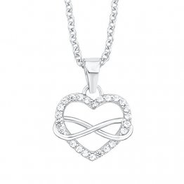 s.Oliver Damen-Halskette mit Herz-Infinity-Anhänger aus 925er Sterling-Silber und Zirkonia weiß - 1