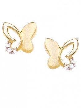 Schmetterling Ohrstecker Stecker Ohrringe Gelbgold 333 Gold (8 Karat) Mit Zirkonia 6mm x 7mm Kinderohrringe Mädchenohrringe Sweet Butterfly V0010827 - 1