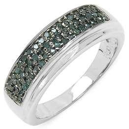 Silvancé - Damen Ring - 925 Silber, rhodiniert - echter Edelstein: Diamant, blau ca. 0.29ct. - R4876BLD / Gr. 54 (17.2) - 1