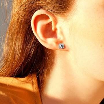 Solide 14 Karat 585 WeißGold Ohrstecker Ohrringe mit Moissanite (Karatgewicht 2, Farben D-E, Reinheit VVS) im Runden Brillantschliff Schmuck für Damen Mädchen - Durchmesser: 6.5 mm - 2