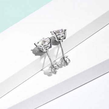 Solide 14 Karat 585 WeißGold Ohrstecker Ohrringe mit Moissanite (Karatgewicht 2, Farben D-E, Reinheit VVS) im Runden Brillantschliff Schmuck für Damen Mädchen - Durchmesser: 6.5 mm - 3
