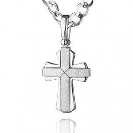 STERLL Herren Kette Sterling-Silber 925 Kreuz-Anhänger aus Sterlingsilber 60cm Geschenkverpackung Geschenkideen für Männer - 1
