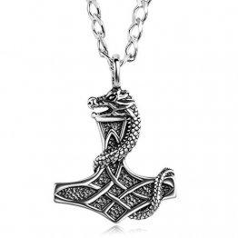 STERLL Herren Silberkette Sterlingsilber 925 Thor Wikinger Hammer Mythos Anhänger Amulett Schmucketui Kleine Geschenke - 1