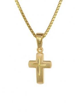 trendor Kreuz-Anhänger für Kinder Gold 585 (14 Kt.) + Plattierte Kette Kinder Halskette, Gold Kreuz Anhänger für Jungen und Mädchen, Geschenkidee 75273 - 1