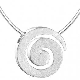Vinani Anhänger Spirale gebürstet mit Schlangenkette 45 cm Sterling Silber 925 Kette Italien ASR45 - 1