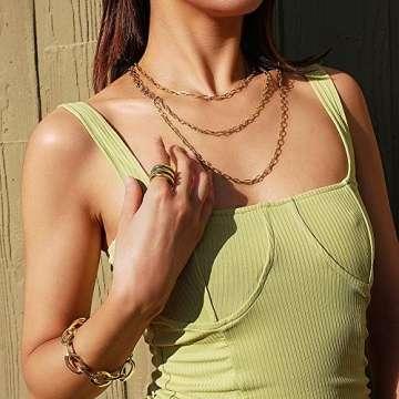 WISTIC Damen Ring Vergoldet aus Edelstahl Partnerring Geschenk fur Mutter Freundin Tochter Silber Rose Gold (14 Karat (585) Gelbgold, 54 (17.2)) - 2