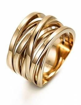 WISTIC Damen Ring Vergoldet aus Edelstahl Partnerring Geschenk fur Mutter Freundin Tochter Silber Rose Gold (14 Karat (585) Gelbgold, 54 (17.2)) - 1