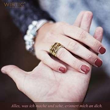 WISTIC Damen Ring Vergoldet aus Edelstahl Partnerring Geschenk fur Mutter Freundin Tochter Silber Rose Gold (14 Karat (585) Gelbgold, 54 (17.2)) - 4