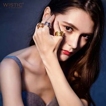 WISTIC Damen Ring Vergoldet aus Edelstahl Partnerring Geschenk fur Mutter Freundin Tochter Silber Rose Gold (14 Karat (585) Gelbgold, 54 (17.2)) - 5