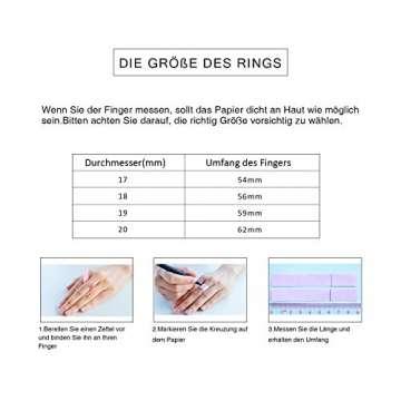 WISTIC Damen Ring Vergoldet aus Edelstahl Partnerring Geschenk fur Mutter Freundin Tochter Silber Rose Gold (14 Karat (585) Gelbgold, 54 (17.2)) - 6