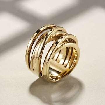 WISTIC Damen Ring Vergoldet aus Edelstahl Partnerring Geschenk fur Mutter Freundin Tochter Silber Rose Gold (14 Karat (585) Gelbgold, 54 (17.2)) - 7