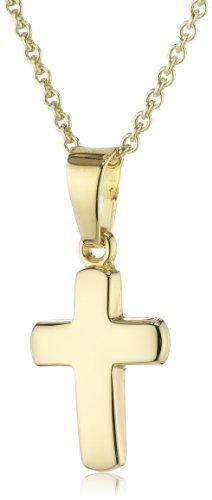 Xaana Kinder und Jugendliche-Anhänger 8 Karat 333 Gelbgold Kreuz glanz + vergoldete 925 Silberkette 36-38 cm AMZ0148 - 1