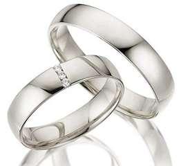 2 x 333 Trauringe Weißgold ECHT GOLD Eheringe schlichte Spannring LM.05.V2.WG Juwelier Echtes Gold Verlobunsringe Wedding Rings Trouwringen (Diamant) - 1
