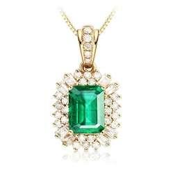 Daesar Kette Anhänger 18K Gold Damen 1.8 Ct Smaragd mit Diamant Gold Halskette für Mutter/Freundin - 1
