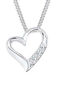 DIAMORE Halskette Damen mit Herz Anhänger Ewigkeit mit Diamant (0.06 ct.) in 925 Sterling Silber - 1