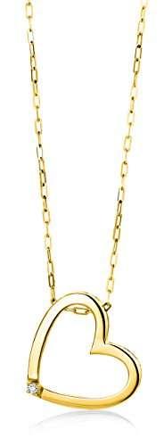 Miore Schmuck Damen 0.01 Ct Diamant Halskette mit Kettenanhänger Herz mit Diamant Brillant Kette aus Gelbgold 18 Karat / 750 Gold - 1