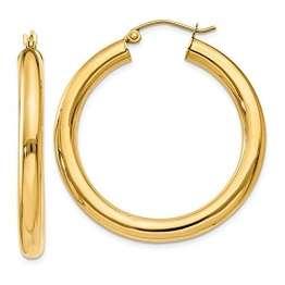 14 Karat 585 Gold Hochglanz Creolen Ohrringe Gelbgold (32 Millimeter) - 1
